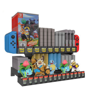 Retro Nintendo SNES N64 Game Storage Tower with Amiibo Display Rack 0