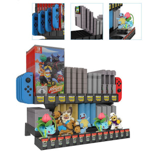Retro Nintendo SNES N64 Game Storage Tower with Amiibo Display Rack 2
