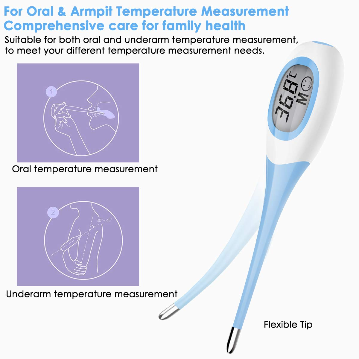 Soft Head Oral Digital Thermometer Blue 4
