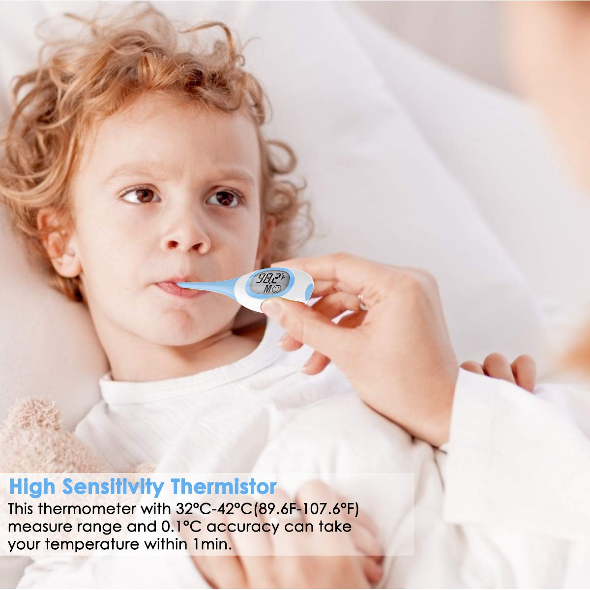 Soft Head Oral Digital Thermometer Blue 6