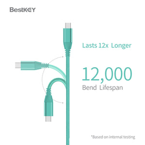 BestKey 3.9 FT Long USB Type C to Type A 3.1 Gen2 Charger Cable 1.2m Grey Nintendo Switch Android Blue 3