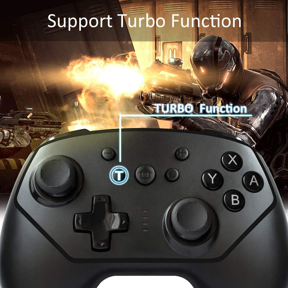 Wireless Controller for Nintendo Switch Lite, Android Bluetooth Controllers Gamepad Pro Controller with Turbo, 6 Axis and Dual Vibration Black 4