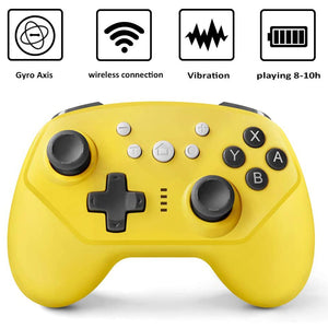 Wireless Controller for Nintendo Switch Lite, Android Bluetooth Controllers Gamepad Pro Controller with Turbo, 6 Axis and Dual Vibration Yellow 1