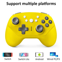 Load image into Gallery viewer, Wireless Controller for Nintendo Switch Lite, Android Bluetooth Controllers Gamepad Pro Controller with Turbo, 6 Axis and Dual Vibration Yellow 2