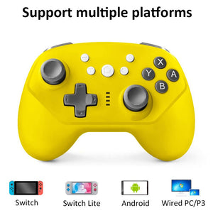 Wireless Controller for Nintendo Switch Lite, Android Bluetooth Controllers Gamepad Pro Controller with Turbo, 6 Axis and Dual Vibration Yellow 2