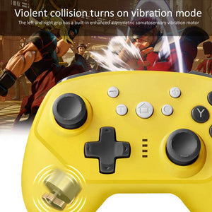 Wireless Controller for Nintendo Switch Lite, Android Bluetooth Controllers Gamepad Pro Controller with Turbo, 6 Axis and Dual Vibration Yellow 4