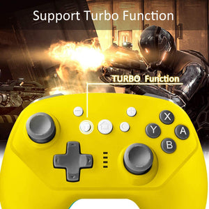 Wireless Controller for Nintendo Switch Lite, Android Bluetooth Controllers Gamepad Pro Controller with Turbo, 6 Axis and Dual Vibration Yellow 5