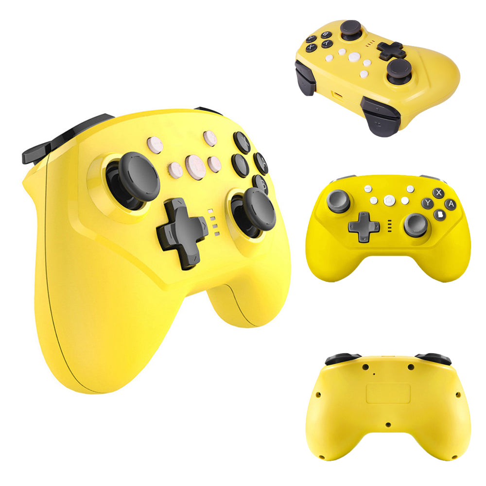 Wireless Controller for Nintendo Switch Lite, Android Bluetooth Controllers Gamepad Pro Controller with Turbo, 6 Axis and Dual Vibration Yellow 3