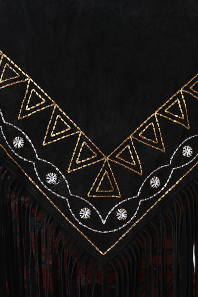 Embroidered Fringe Suede Triangle Scarf