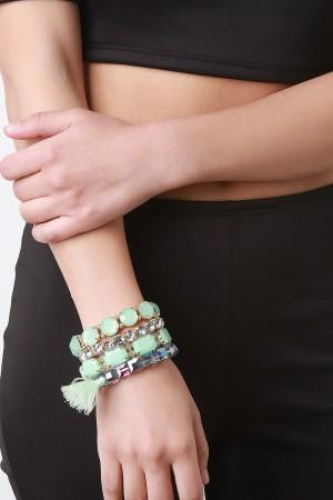 Opaque Pastel Gem Bracelet Set