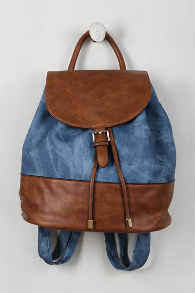 Denim Printed Vegan Leather Drawstring Backpack