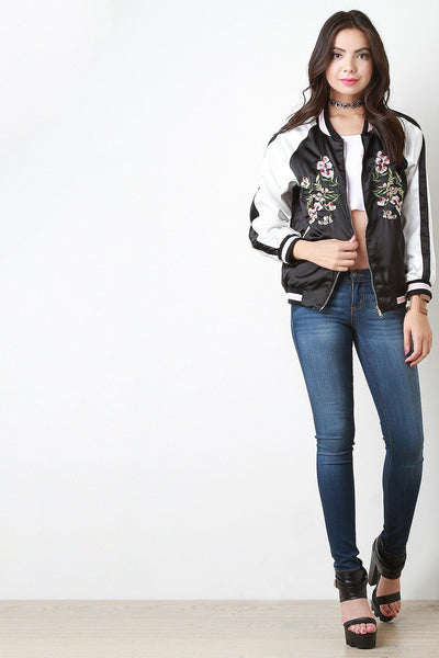 Reversible Charmeuse Embroidered Bomber Jacket