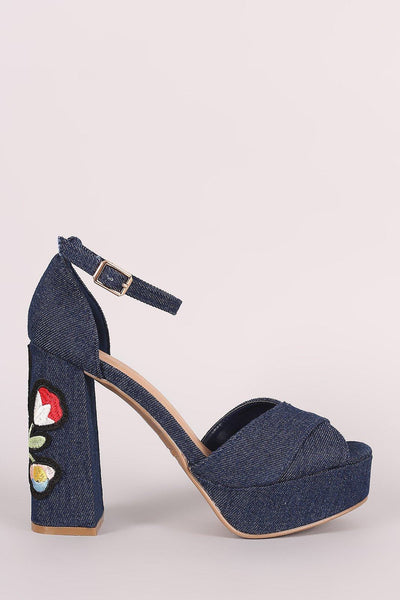 Bamboo Denim Embroidered Floral Chunky Platform Heel