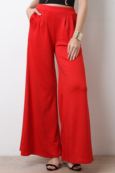 Scuba Flare Wide Leg High Waisted Pants