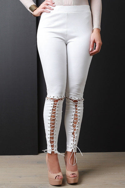 Lace-Up Vegan Suede Legging Pants