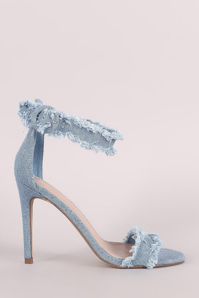 Breckelle Frayed Denim Open Toe Stiletto Heel
