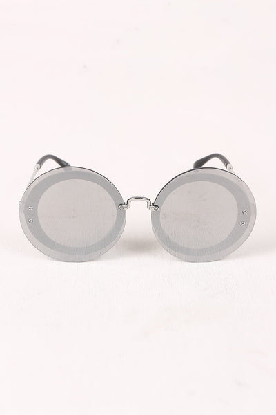 Rimless Round Mirrored Sunglasses