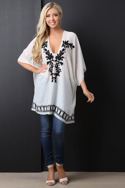 Semi-Sheer Floral Embroidery Poncho Top