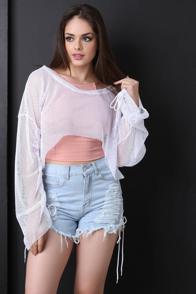 Fishnet Mesh Sharkbite Cinched Crop Top