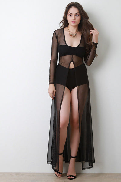 Semi-Sheer Mesh Front Slit Cover-Up Maxi Dress