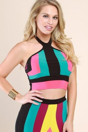 Color Panel Cutaway Halter Crop Top