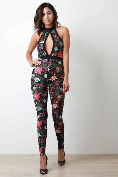 Colorful Floral Embroidered Lace Jumpsuit