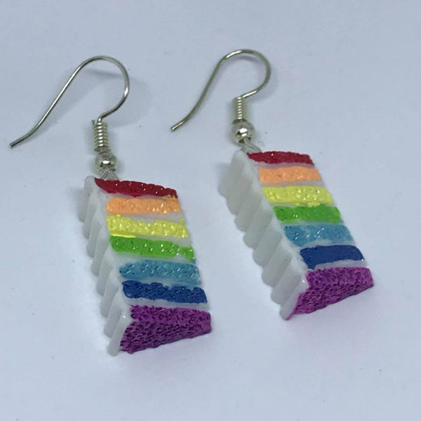 rainbow cake drop earrings