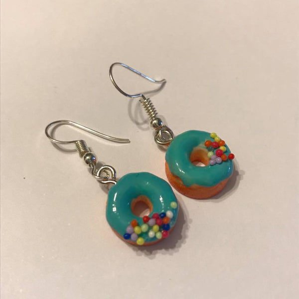 turquiose dangle donut earrings