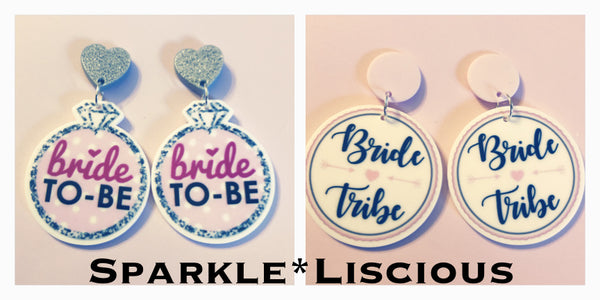 Bride to be and bride tribe earrings