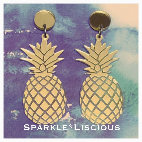 Pineapple Mirrored gold or silver earrings