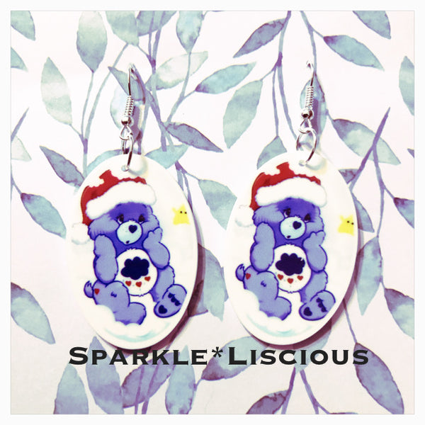 Christmas grumpy bear earrings