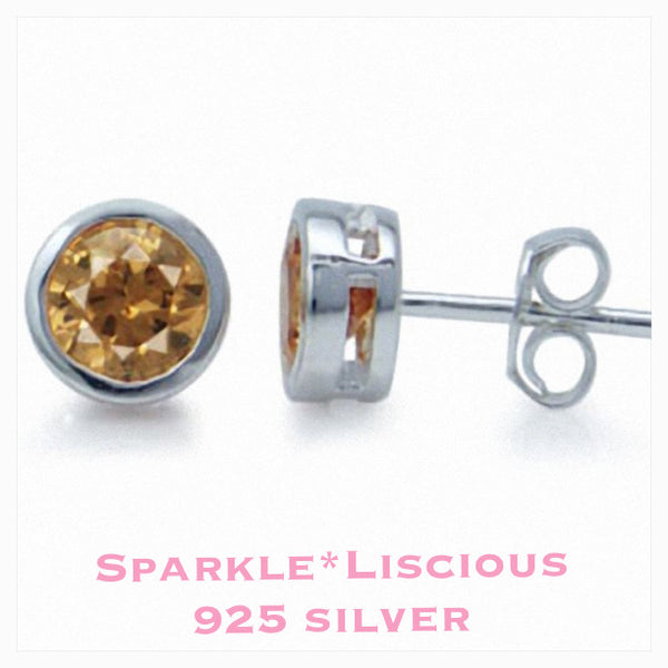Sparkle*Liscious Champagne Cubic Zirconia Sterling Silver Studs