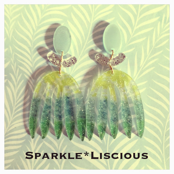Lime splice acrylic glitter (hula girl) earrings