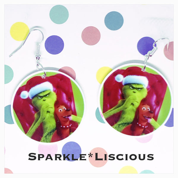 The grinch Christmas earrings