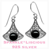 Sparkle*Liscious Onyx Triquetra Sterling Silver Earrings