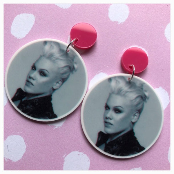 P!nk pink earrings