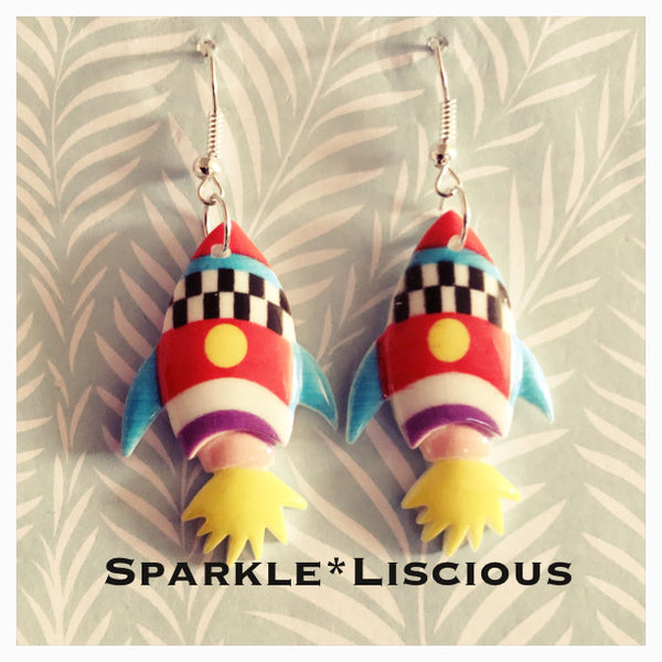 Rocket ship drop earrings