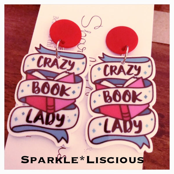 Crazy book lady earrings