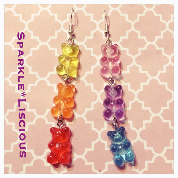 Gummi bear rainbow triple bear earrings