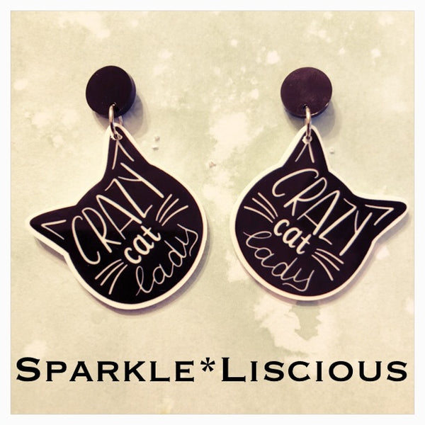 Crazy cat lady earrings