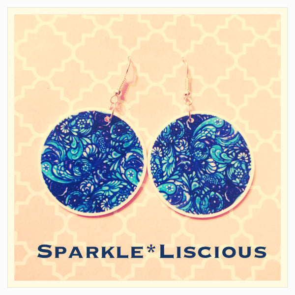 Blue swirl print earrings