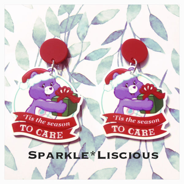 Christmas care bear tis the season to care earrings