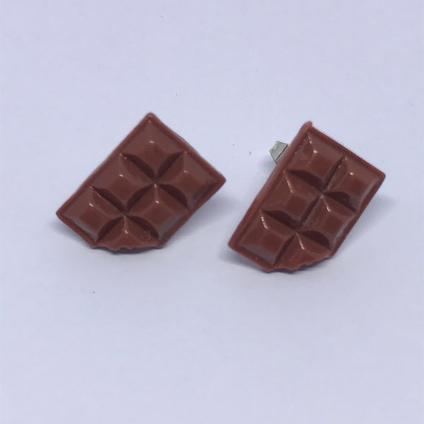 Chocolate block earrings