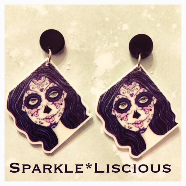 Sugar skull girl earrings