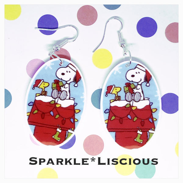 Snoopy and Woodstock christmas earrings