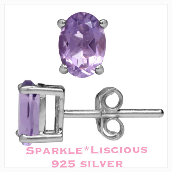 Sparkle*Liscious Amethyst Sterling Silver Studs