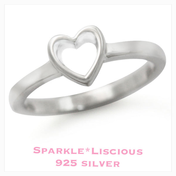 Sparkle*Liscious Heart Sterling Silver Ring