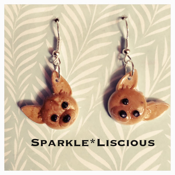 Chihuahua dog drop earrings