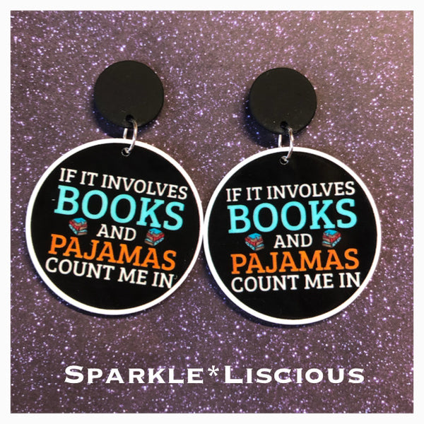 Books and pyjamas earrings