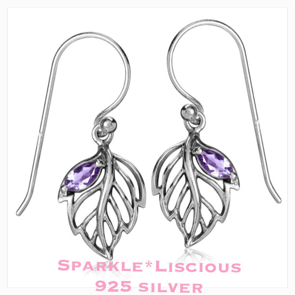 Sparkle*Liscious Amethyst Leaf Sterling Silver Earrings